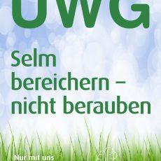 Plakat UWG Selm bereichern - nicht berauben