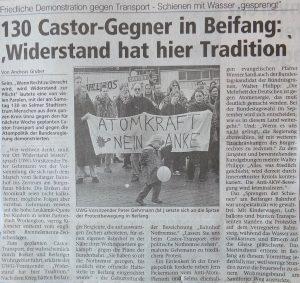 Castor-Demo: Westfälische Rundschau vom 17.03.1998