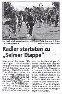 Selmer Etappe: Westfälische Rundschau vom 27.09.2000