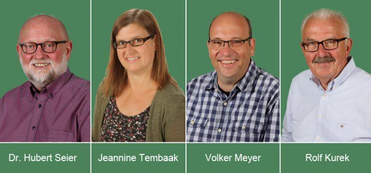 Die neuen Ratsmitglieder der UWG - Hubert Seier, Jeannine Tembaak, Volker Meyer, Rolf Kurek