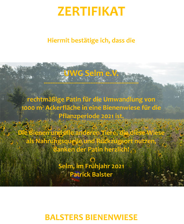 Zertifikat UWG Balsters Bienenwiese 2021